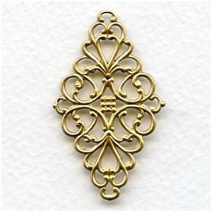 Diamond Shaped 44mm Filigrees Raw Brass (6)