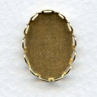 Lace Edge Settings 18x13mm Raw Brass