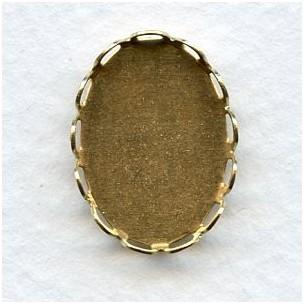 Lace Edge Settings 18x13mm Raw Brass (12)
