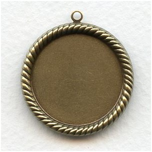 Round 25mm Rope Edge Settings Oxidized Brass (6)