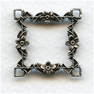 Floral Framework Connector Oxidized Silver (2)