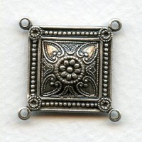 Large Square Connectors Oxidized Silver 4 Loops