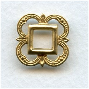 Small Openwork Fancy Square 19mm Raw Brass (12)