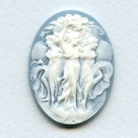 Cameo White on Blue Dancers 40x30mm