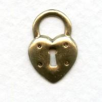 Steampunk Inspired Heart Lock Oxidized Brass 17mm (6)