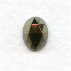 Iris Green Flat Back Faceted Top 8x6mm Jewelry Stones