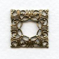 Open Center Square Filigree Oxidized Brass 21mm