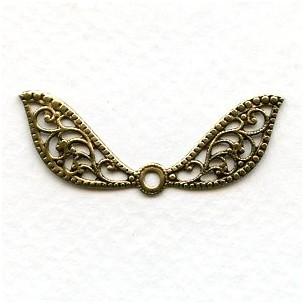Fantasy Wings Oxidized Brass Filigree 41mm (6)