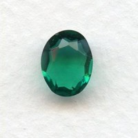 Emerald Glass Oval Unfoiled Jewelry Stones 10x8mm