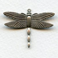 Dragonflies Upturned Wings 28x36mm Oxidized Silver