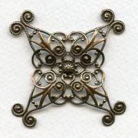 Ornate 48mm Filigree Oxidized Brass