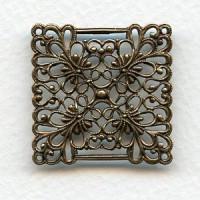 European Filigree Square 30mm Oxidized Brass (1)