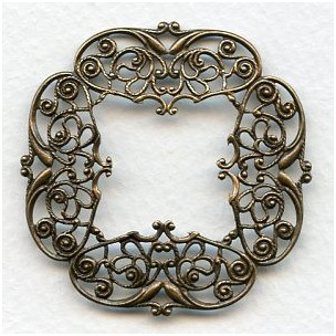Intricately Detailed Filigree 48mm Frame Oxidized Brass (1)