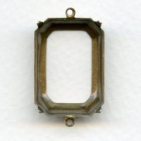 Octagon Connector Settings 25x18mm Oxidized Brass