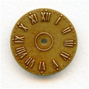 Clock Faces Roman Numerals Oxidized Brass 25mm