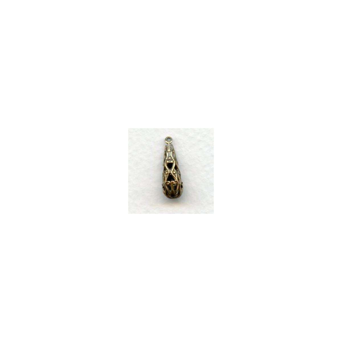 Filigree Teardrop Shape Oxidized Brass Beads 19x6mm