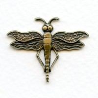Dragonfly Stamping Design Oxidized Brass 31x24mm (1)