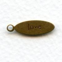 Inspiration Tag Love Oval Oxidized Brass