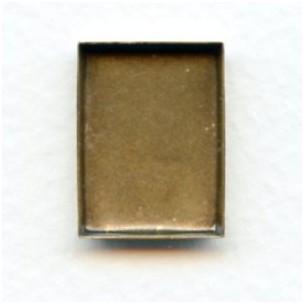 Bezel Edge Oxidized Brass Rectangle Settings 18x13mm