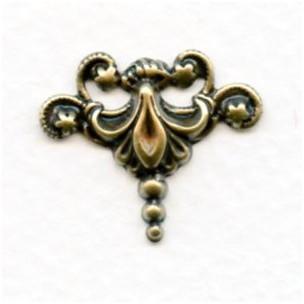 Fleur-de-lis Stampings Oxidized Brass 23x22mm (4)