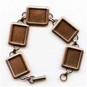 Bracelet Finding 16x12mm Settings Oxidized Copper