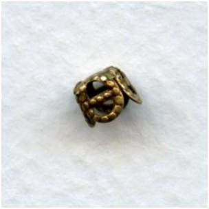 Square Filigree 5mm Bead Caps Oxidized Brass (24)