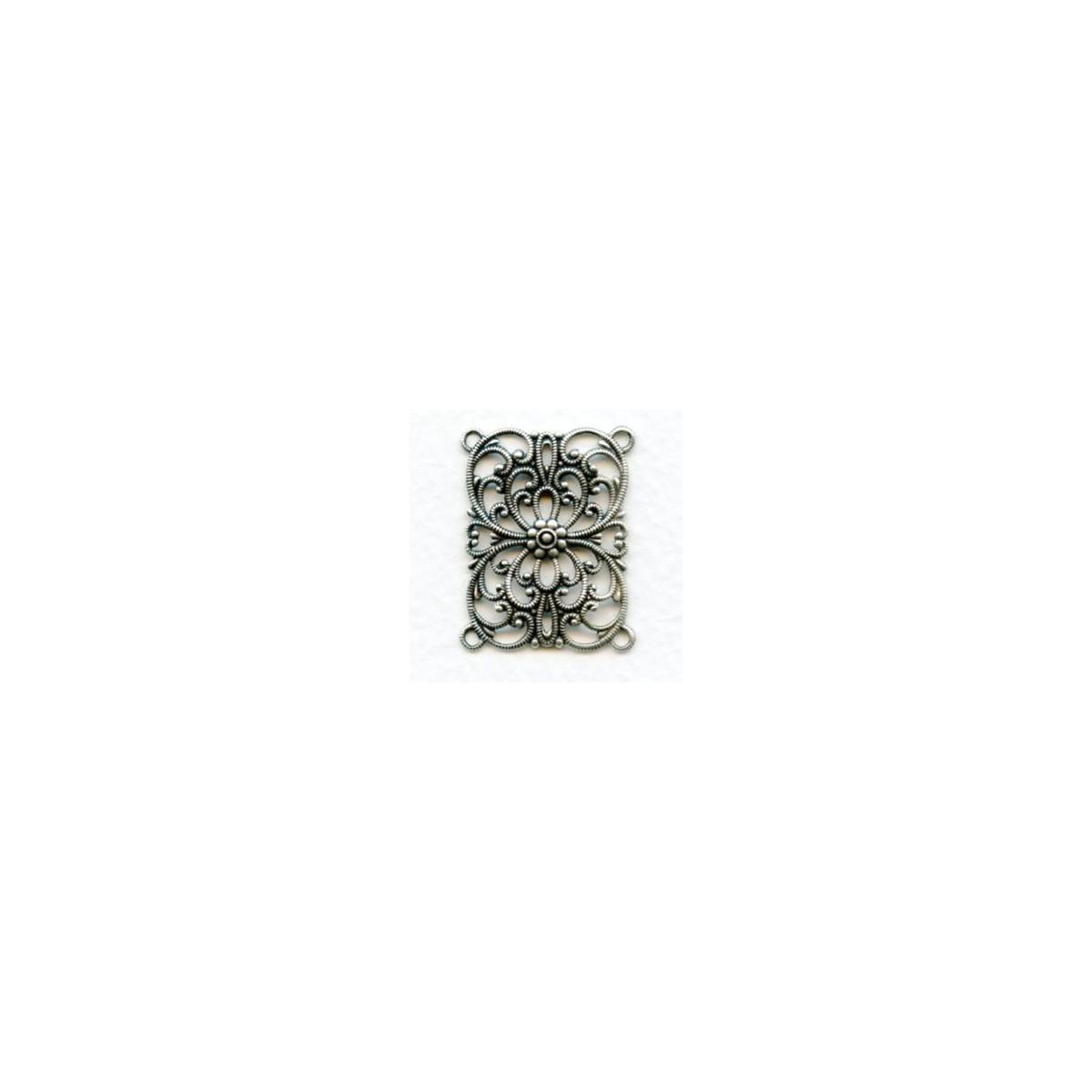 European Filigree Rectangle 28x22mm Oxidized Silver