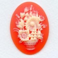 ^Cameo Flower Pot Bouquet Ivory on Carnelian 40x30mm (1)