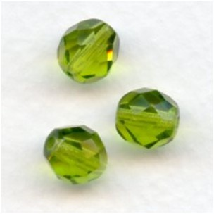 Olivine Fire Polished Round Faceted Beads 8mm
