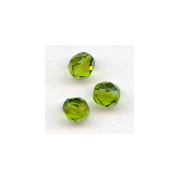 Polished Olivine Basalt Fire : ^olivine fire polished round faceted beads mm