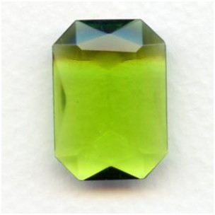 Olivine Glass Octagon Unfoiled 25x18mm