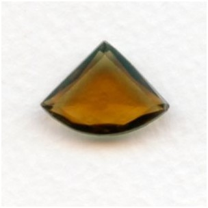 Smoked Topaz Glass Fan Shape Jewelry Stones 18x13mm