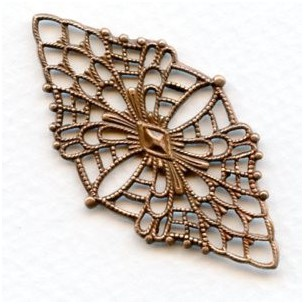 Fine Detail Diamond Shaped Filigree Oxidized Copper (1)
