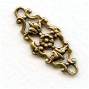 Fancy Floral Connectors Oxidized Brass 29mm (6)