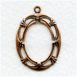 Art Deco Style 18x13mm Setting Oxidized Copper