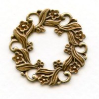 Floral Wreath Frame with Cutouts Oxidized Brass 27mm