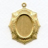 Elaborate Setting Pendants 18x13mm Raw Brass