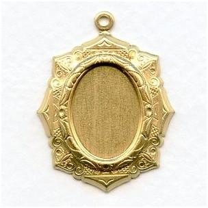 Elaborate Setting Pendants 18x13mm Raw Brass (6)