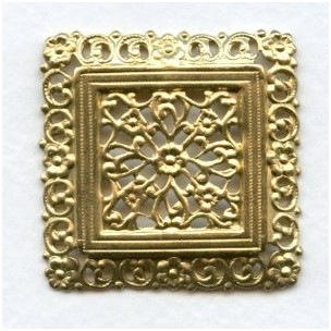 Ornate Floral Square Raw Brass Stamping (1)