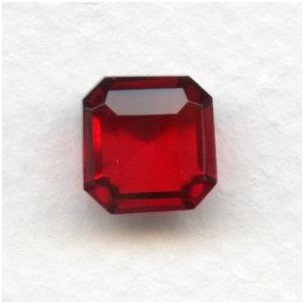 Ruby Glass Square Octagon Jewelry Stones 10x10mm