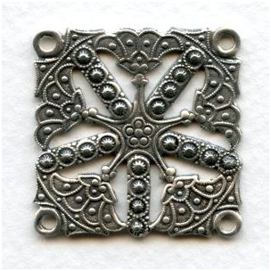 Connector Square 4 Loops Oxidized Silver Plated 32mm