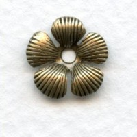 *Textured Petal Flowers 13mm Oxidized Brass (12)