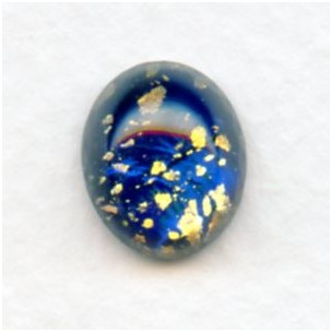 Dark Blue Glass Opal Cabochons Handmade 12x10mm (2)