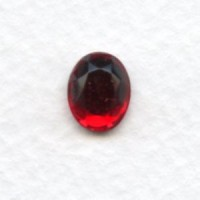 Siam Glass Flat Back Stone 10x8mm Faceted Top