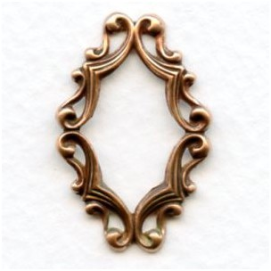 Oval Filigree Framework 29x19mm Oxidized Copper (6)