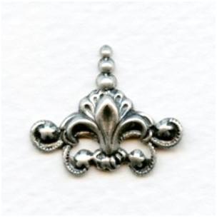Fleur-de-lis Stampings Oxidized Silver 23x22mm (4)