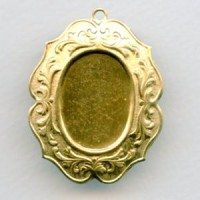 Elaborate Floral 25x18mm Raw Brass Closed Back Setting