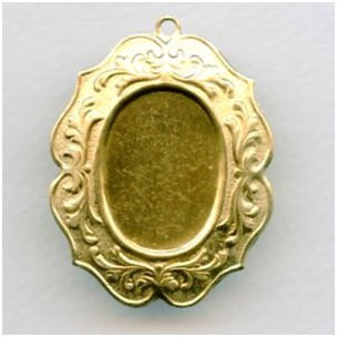 ^Elaborate Floral 25x18mm Raw Brass Settings (3)