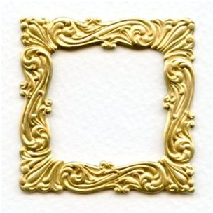 ^Ornate Flourishes Square Stamping Raw Brass