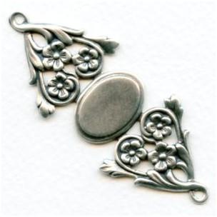 Floral Bracelet Connector Base Oxidized Silver (1)